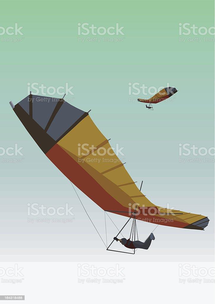 Flight on a hang-glider vector art illustration