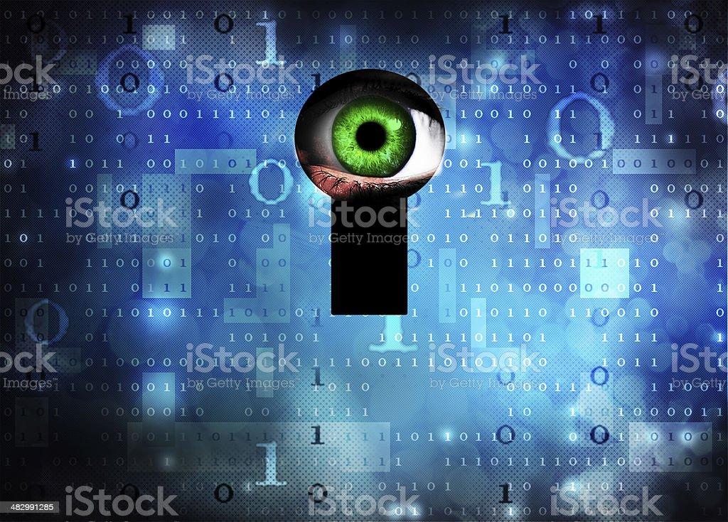 Floating green eyeball on blue digital background vector art illustration