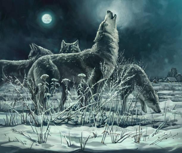 bildbanksillustrationer, clip art samt tecknat material och ikoner med flock vargar - varg