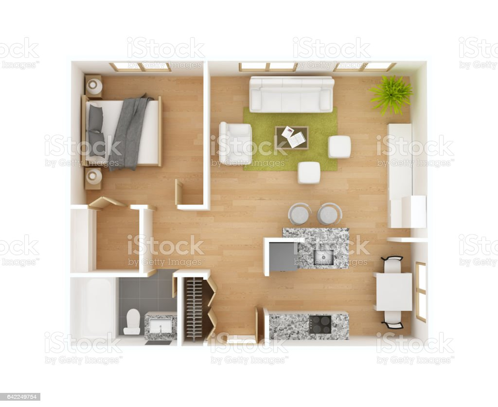 3D floor plan vector art illustration