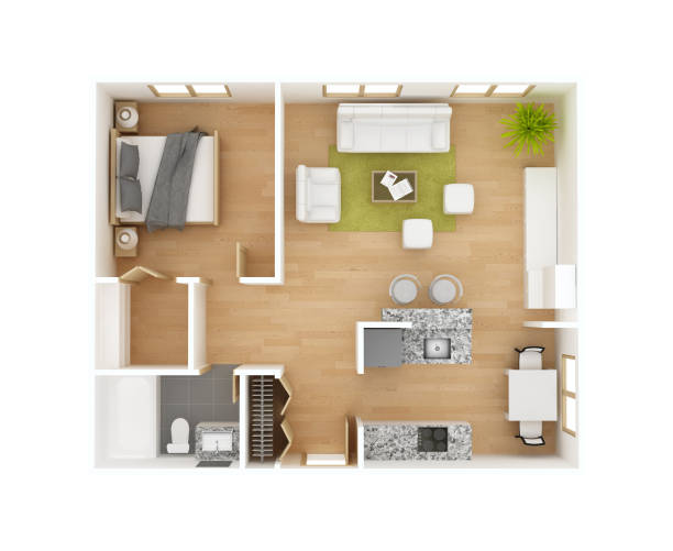 3D floor plan Floor plan top view isolated on white background. One bedroom one bath. Residential project 3D illustration. May be used for a graphic art, design or architectural illustration. interior designer stock illustrations
