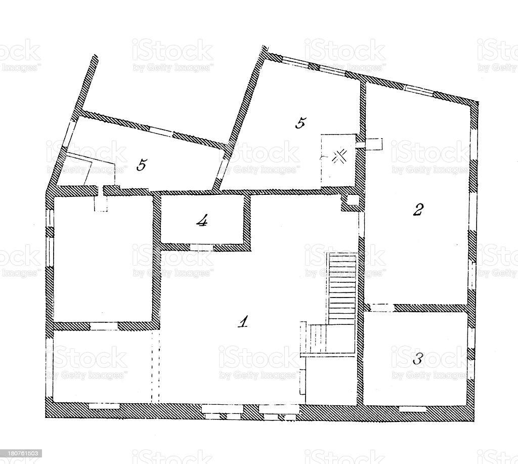 Floor Plan Of Medieval House In Goslar Stock Vector Art