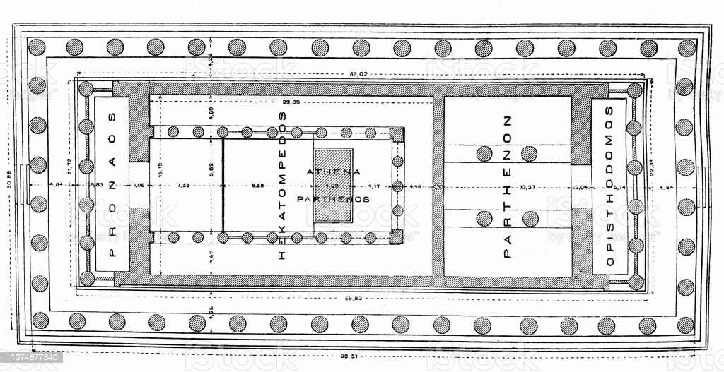 Floor Plan Of The Parthenon In Athens Stock Illustration