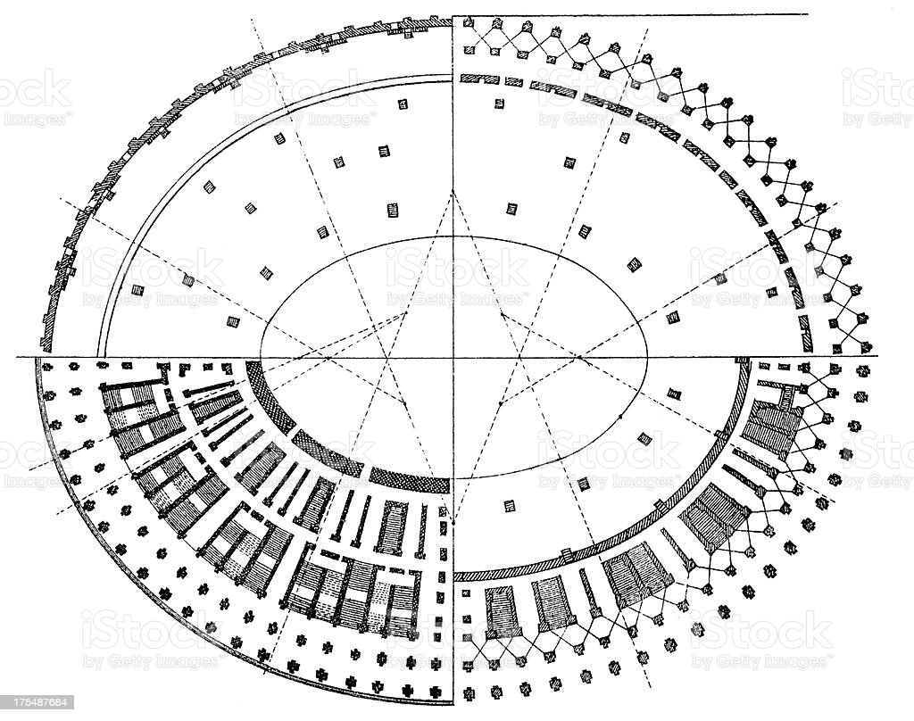 Floorplan of the Colosseum, Rome, Italy | Antique Architectural Illustrations vector art illustration