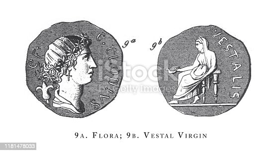 Flora, Vestal Virgin, The Muses and Other Legendary Female Figures, Apollo and Dionysus Engraving Antique Illustration, Published 1851. Source: Original edition from my own archives. Copyright has expired on this artwork. Digitally restored.