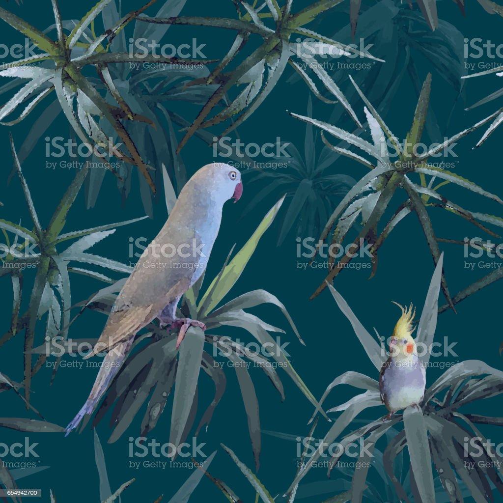 抽象的なシームレスな暗いブルー色花柄緑熱帯植物オーストラリアの