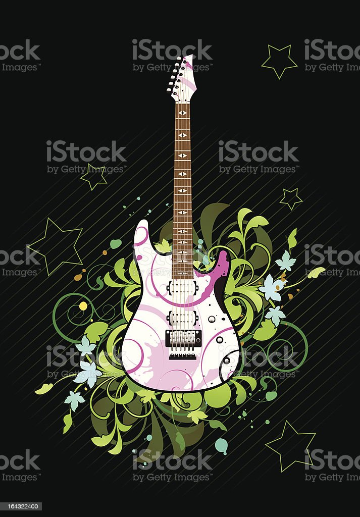 Floral abstract with electric guitar royalty-free stock vector art
