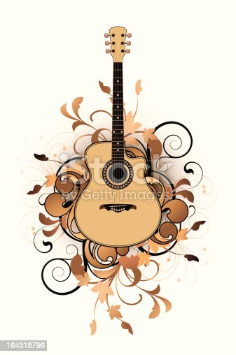 istock Floral abstract with guitar 164318796