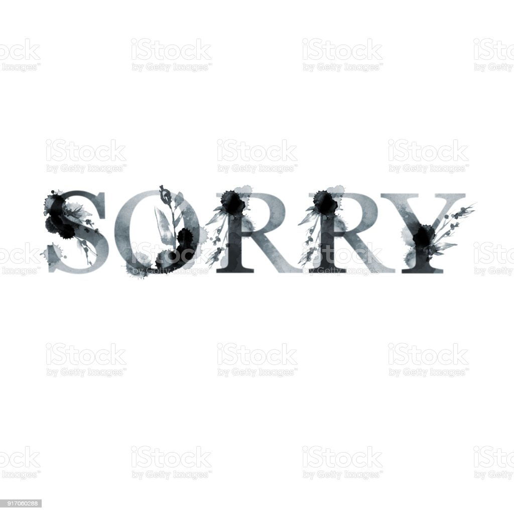 Sorry Floral Artistic Lettering Word Modern Alphabet Greeting Card