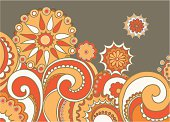 Colorful hand drawn floral design for background