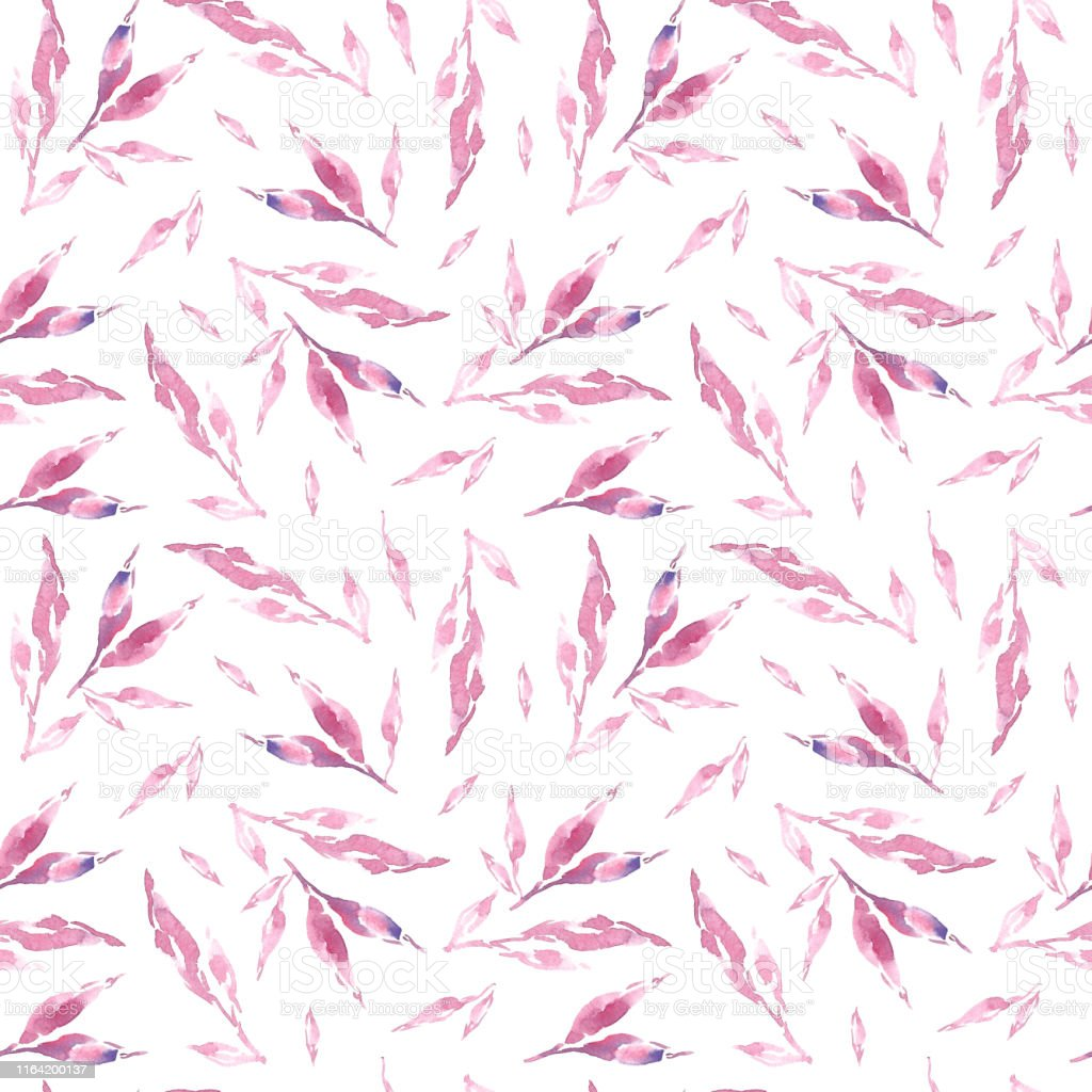 Floral Background Pink Watercolor Leaves Seamless Pattern