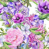Floral background with ornament in boho style. Seamless pattern. Watercolor