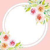 istock Floral banners, roses. Watercolor hand drawing illustration, isolated, white background, floral background 1315365949