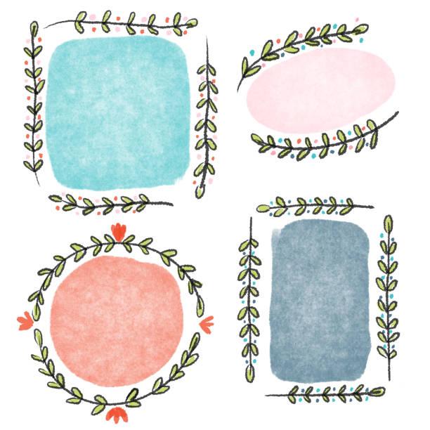 Floral border drawing Framed floral and leaf border drawing kathrynsk stock illustrations