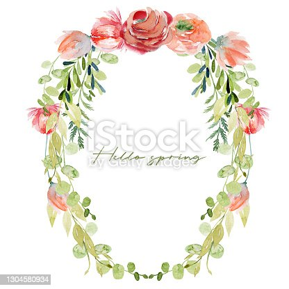 istock Floral border of watercolor red and pink roses flowers, wildflowers, greenery and green branches; hand painted isolated illustrations on a white background, summer card design 1304580934