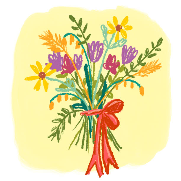 Floral Bouquet Drawing on Yellow Background Floral bouquet with bow on yellow background kathrynsk stock illustrations