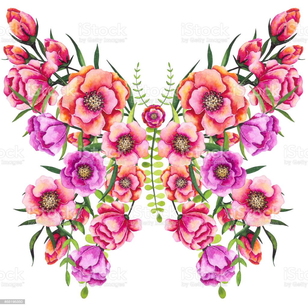 Floral Butterfly With Watercolor Red And Pink Flowers Stock Vector