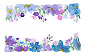 Watercolor illustration of meadow flowers. Design element. Copy space.