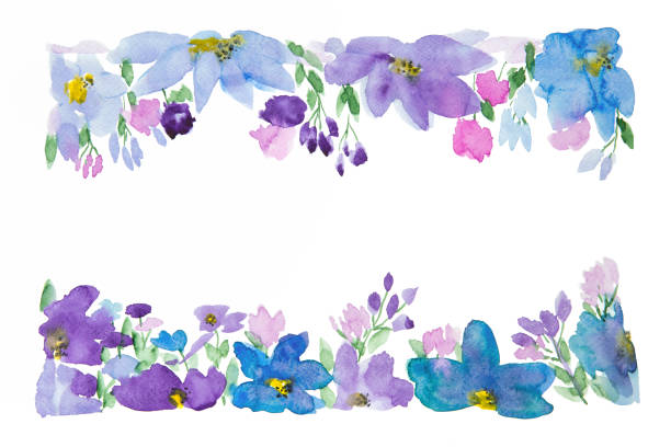 Floral Composition In Watercolor Watercolor illustration of meadow flowers. Design element. Copy space. violet flower stock illustrations
