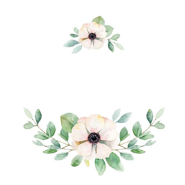 illustrazioni stock, clip art, cartoni animati e icone di tendenza di floral composition with anemone and leaves - mika