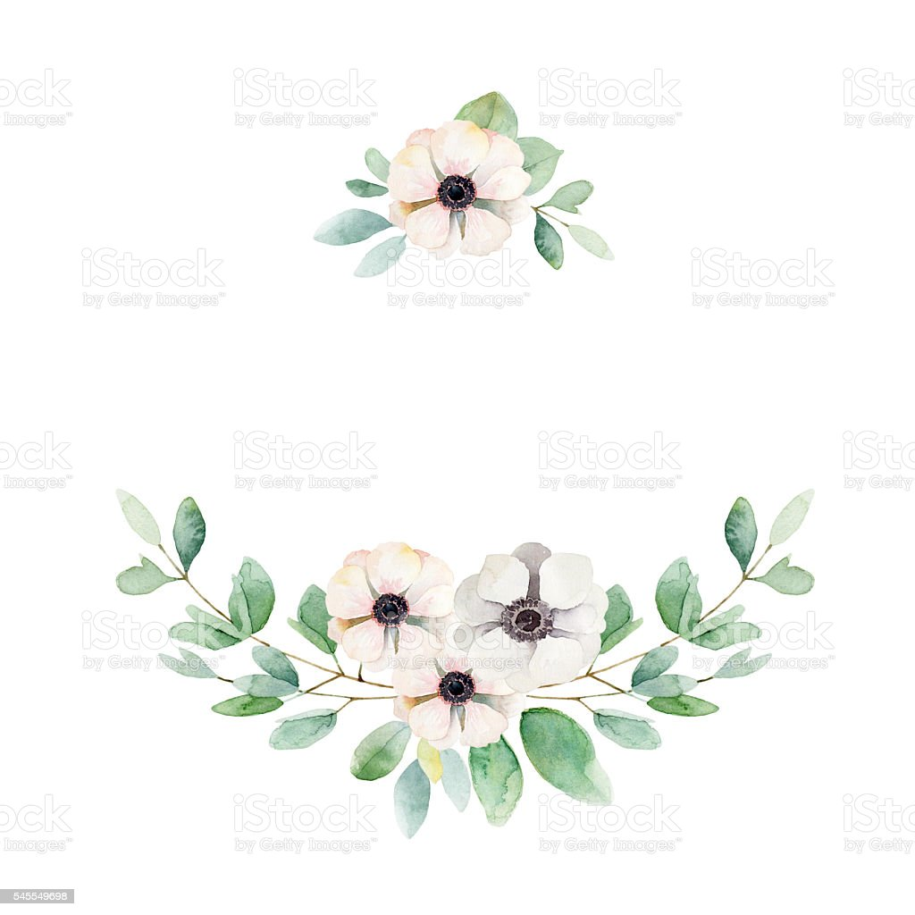 Floral composition with anemones and leaves vector art illustration