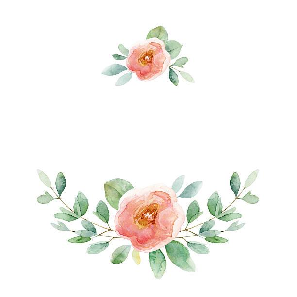 illustrazioni stock, clip art, cartoni animati e icone di tendenza di floral composition with rose and leaves - mika