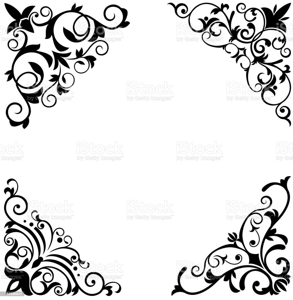 Floral Corners Stock Vector Art & More Images of Abstract