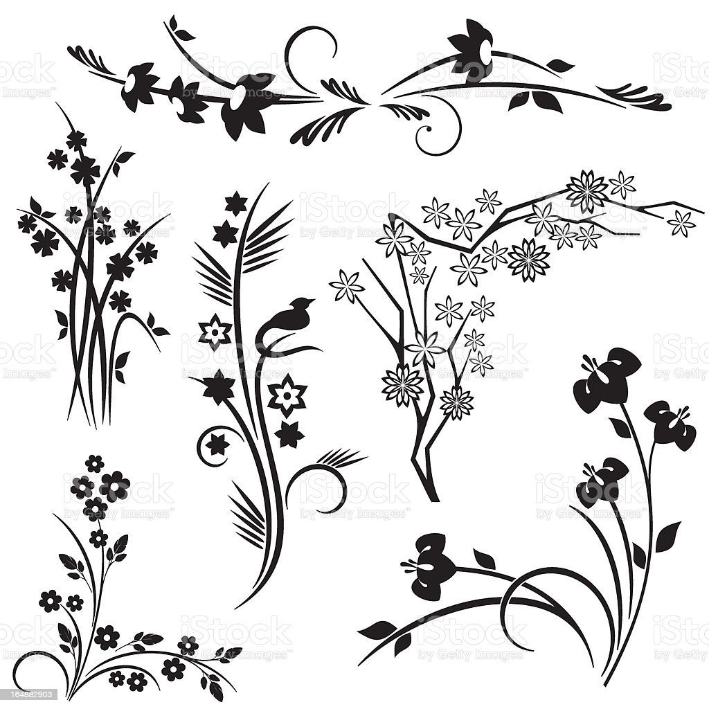 Floral Design Series. Japanese style royalty-free stock vector art