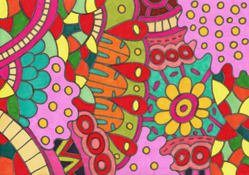 Floral Doodle. Rainbow colors. Marker drawing background. Simple hand drawn color texture. Bright trippy hippie multicolor backdrop for graphic design