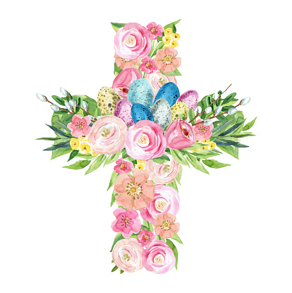 Floral Easter Cross Watercolor. Delicate watercolor illustration, suitable for Easter, first communion, baptism invitations.