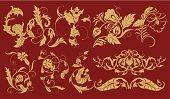 """""""Floral elements for design, golden flower"""""""