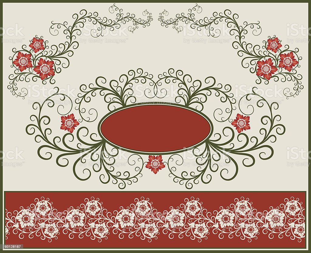 Floral elements, frame and border. royalty-free stock vector art