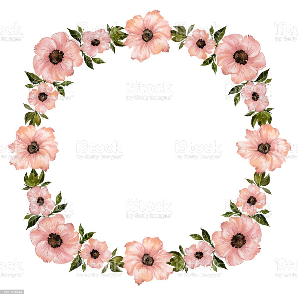 Floral Frame Illustration Beautiful Pink Flowers With Green Leaves