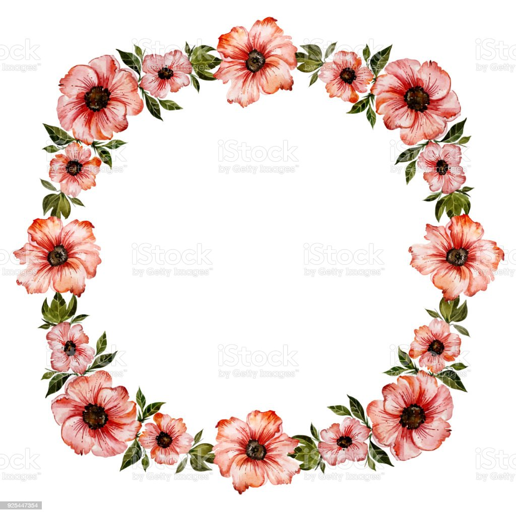 Floral Frame Illustration Beautiful Red Flowers With Green Leaves ...