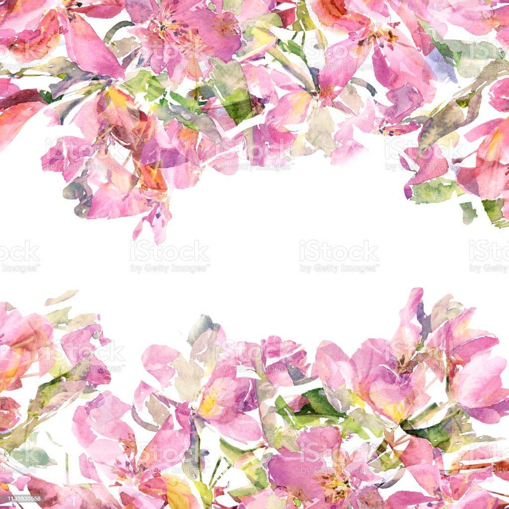 Ilustración De Marco Floral Flores Rosas De Color Rosa