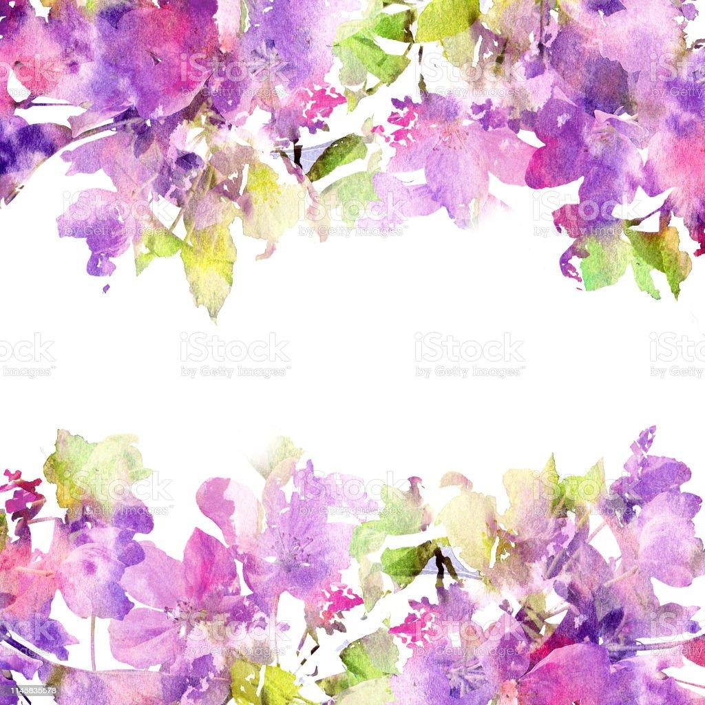 Ilustración De Marco Floral Flores De Color Púrpura
