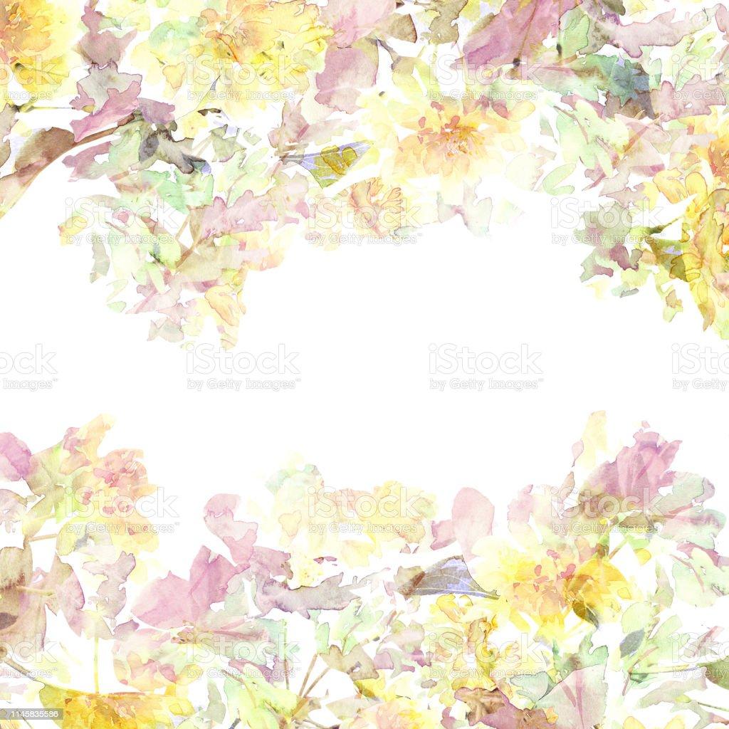 Ilustración De Marco Floral Flores Amarillas Watecolor