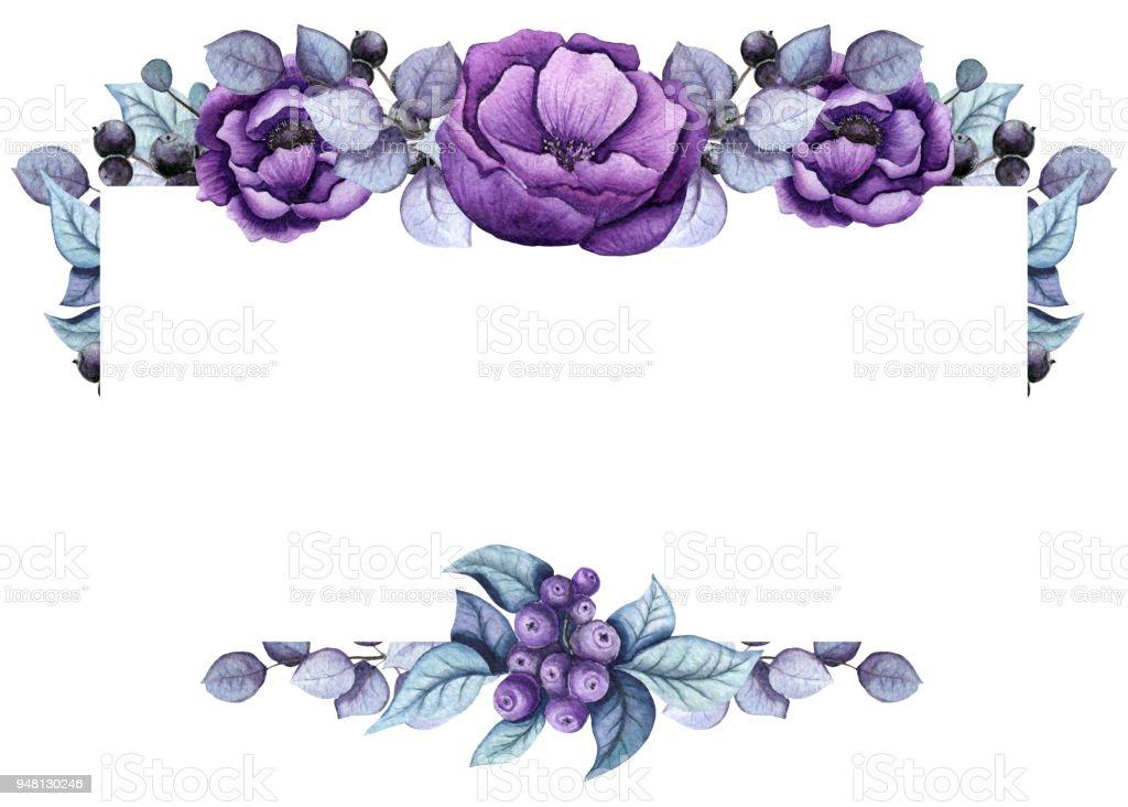 Marco Floral Con Flores De Color Púrpura Profundo - Arte vectorial ...