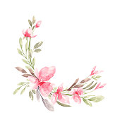istock Floral frame with watercolor tropical leaves 1195722764