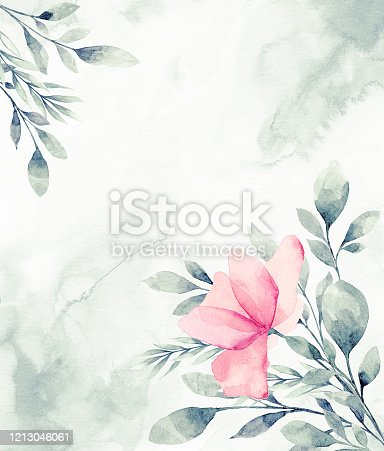 istock Floral frame with watercolor tropical leaves 1213046061