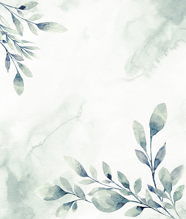 Floral frame with watercolor tropical leaves