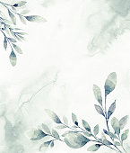 istock Floral frame with watercolor tropical leaves 1213046986