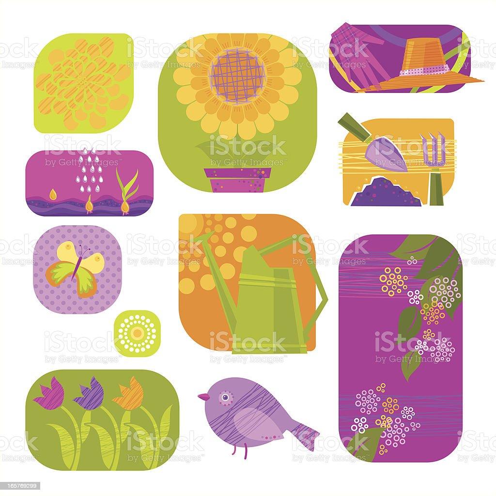 Floral Gardening royalty-free stock vector art