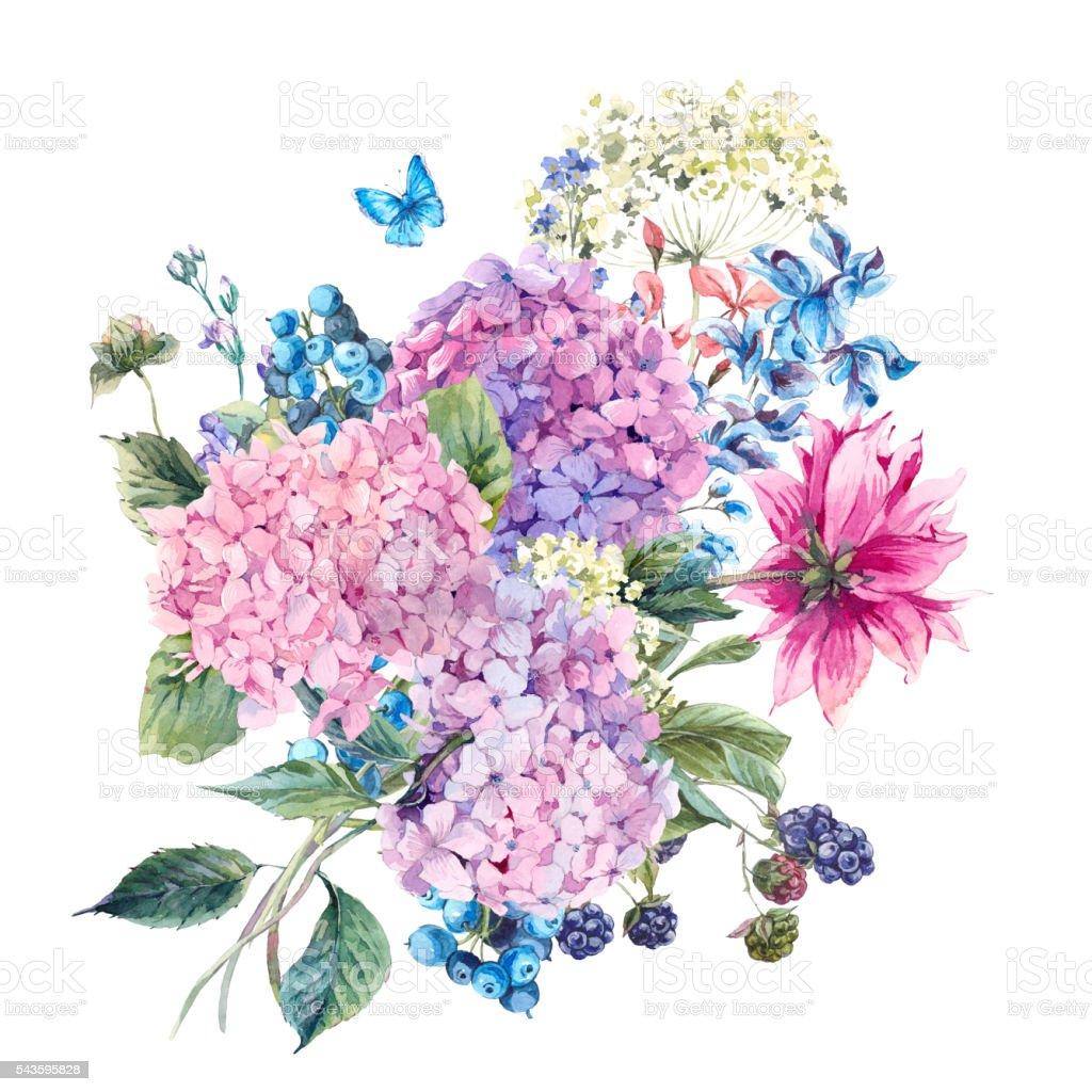 Ilustracion De Tarjeta De Felicitacion Con Flores Hortensia Y Mas