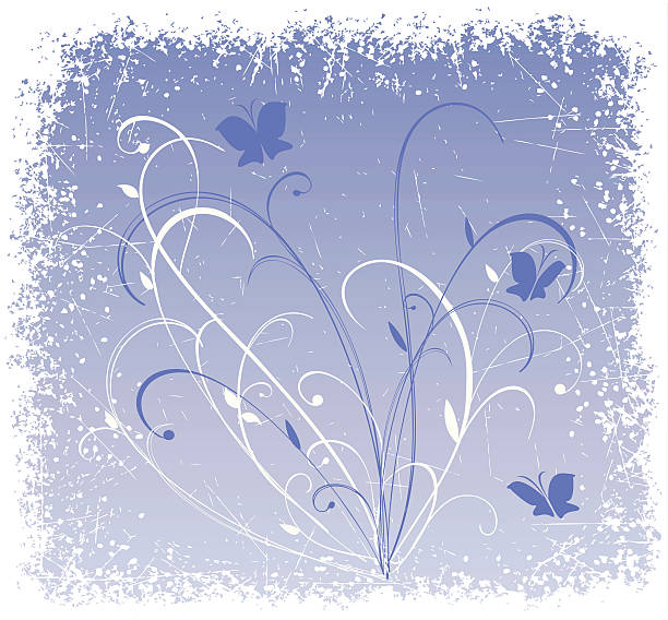 Floral grunge background with butterflies vector art illustration