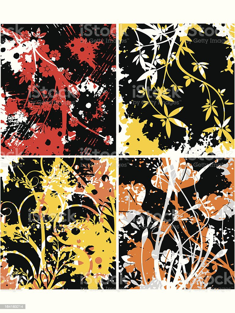 Floral grunge backgrounds royalty-free stock vector art
