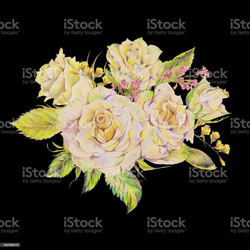 Floral Handgezeichnet Brautstrauss Mit Weissen Rosen Und Wild Blumen