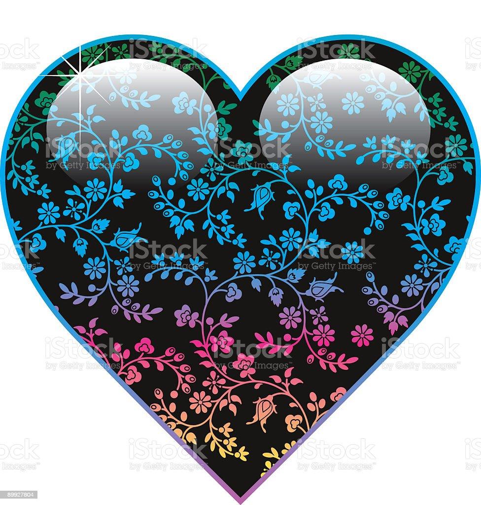 Floral heart three vector art illustration