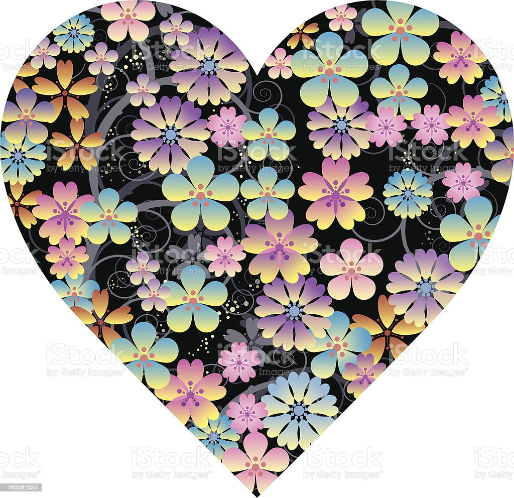 Floral heart two royalty-free stock vector art