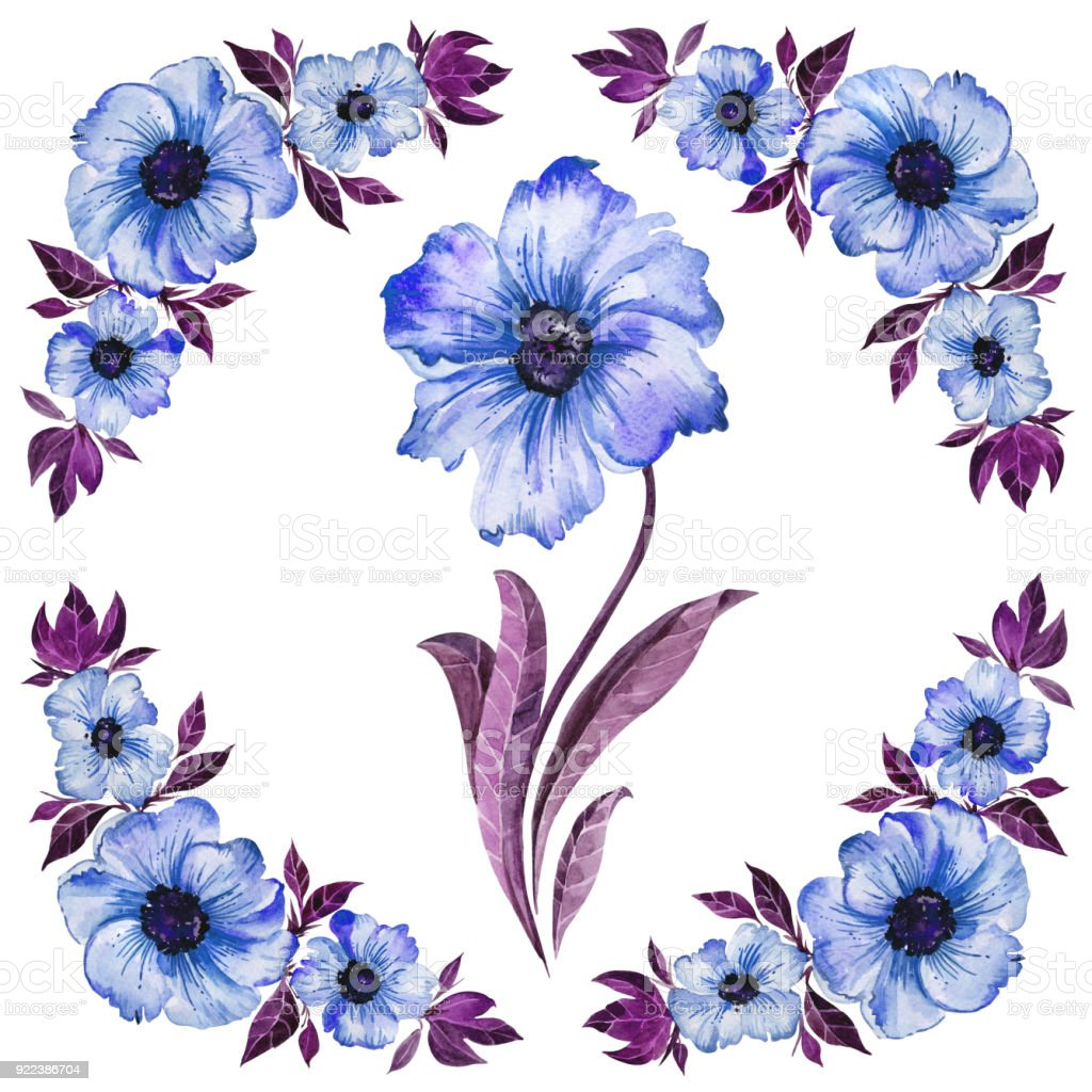 Floral Illustration Beautiful Blue Flowers With Purple Leaves Round